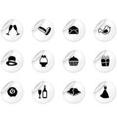 Stickers with wedding icons vector image