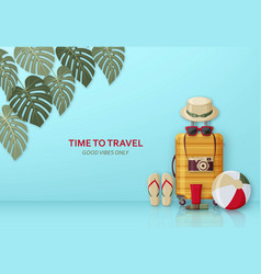 Summer travel concept with suitcase sunglasses vector