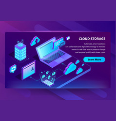 template of site for cloud storage vector image
