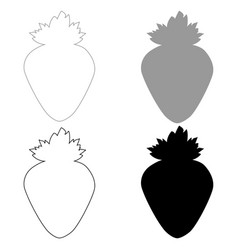 the strawberry the black and grey color set icon vector image