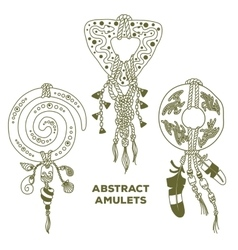 Three Abstract Amulets vector image