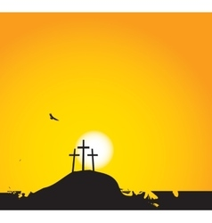 Three crosses on Mount Calvary vector