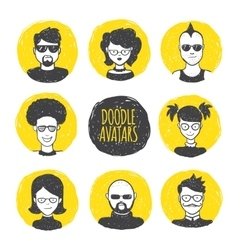User avatars in trendy hand drawn doodle vector