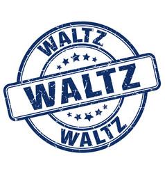 Waltz blue grunge round vintage rubber stamp vector