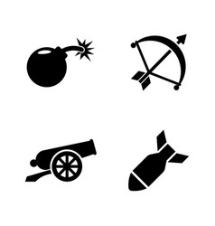 weapons of war simple related icons vector image