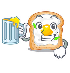 With juice sandwich with egg above character board vector