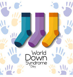 World down syndrome day childrenhood hands and vector