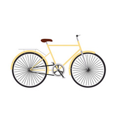 yellow retro bicycle concept flat design vector image