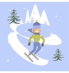 Young man is skiing vector