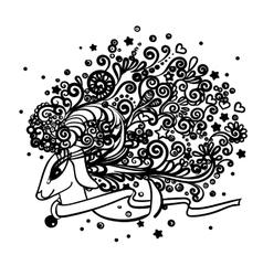 Zentangle deer drawing vector