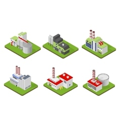 Icons and compositions of industrial building vector image vector image