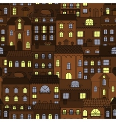 Old town at night retro seamless pattern vector image
