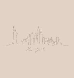 pen line silhouette new york beige vector image