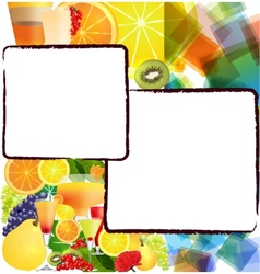 Background with fruits and cocktails vector