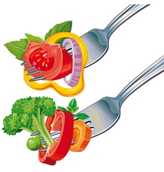 Fresh vegetable mix on fork vector image