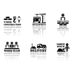set industrial symbols with reflection silhouette vector image