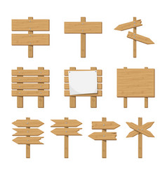 set of wooden signboard and road sign vector image