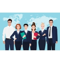 Business team formed of young businessmen standing vector image vector image