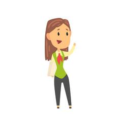 businesswoman character in formal wear standing vector image