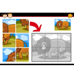 Cartoon lion jigsaw puzzle game vector