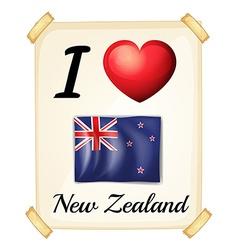 I love New Zealand vector image vector image