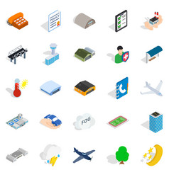 military aviation icons set isometric style vector image vector image