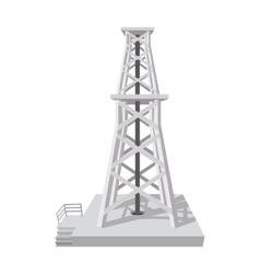 Oil rig cartoon icon vector image