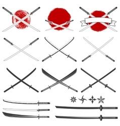 Set of the katana swords vector image vector image