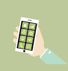 white smartphone with icons in the hand vector image vector image