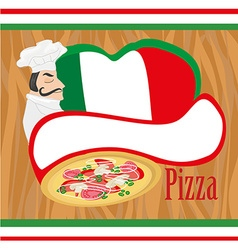 chef with pizza - Abstract card with space for vector image vector image