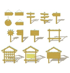 wood signs winter set vector image vector image