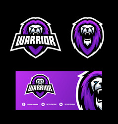 abstract lion warrior design template vector image