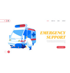 ambulance medical staff service occupation landing vector image