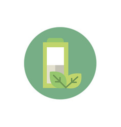 battery power nature green energy block icon vector image