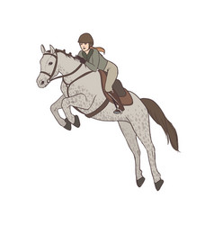 Beautiful woman wearing breeches jacket and vector