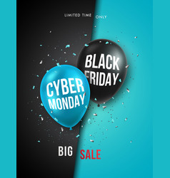 black friday and cyber monday vertical banner vector image