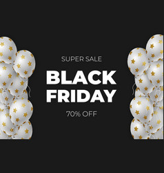 black friday sale poster with white shiny vector image