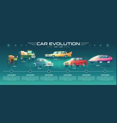 Cars design evolution cartoon infographics vector