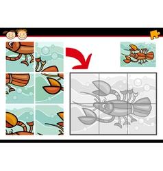 Cartoon crayfish jigsaw puzzle game vector