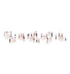 Cartoon visitors at social event isometric vector
