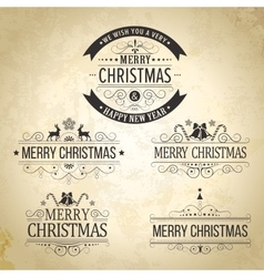 Christmas decoration set calligraphic vintage vector