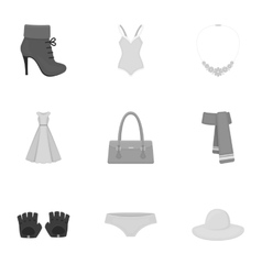 Clothes set icons in monochrome style Big vector image