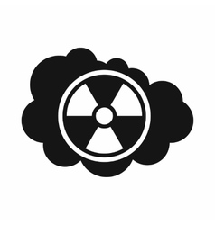 Cloud and radioactive sign icon simple style vector image