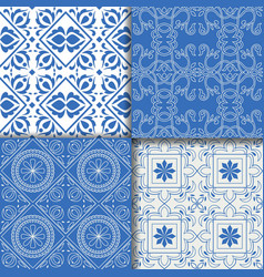 collectiom seamless pattern arabic style in blue vector image