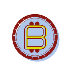 Color bitcoin emblem money currency icon vector