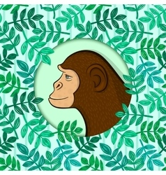 Colorful monkey in circle frame vector image