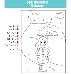 Coloring page with girl Color by numbers math vector image