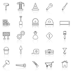 Construction line icons with reflect on white vector image