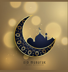 Crescent moon and mosque with floral decoration vector
