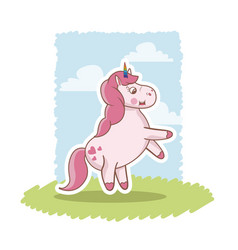 cute pink unicorn baby character grass sky vector image